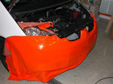 vollverklebung mitsubishi colt schwarz orange weiss oracal 970 02
